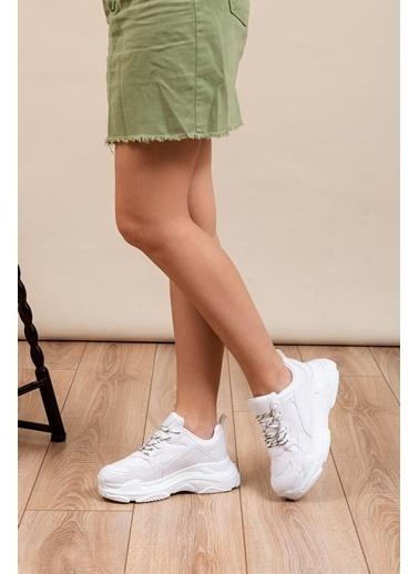 Tonny Black Beyaz Cilt Bayan Spor Ayakkabı  Bls-Q Beyaz